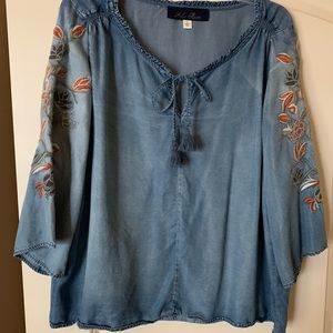 Denim Blouse with Embroidery On Sleeves Size Large